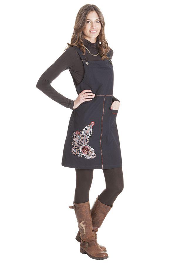 Robe courte d'Inde style salopette Originale Lison Noire 285691