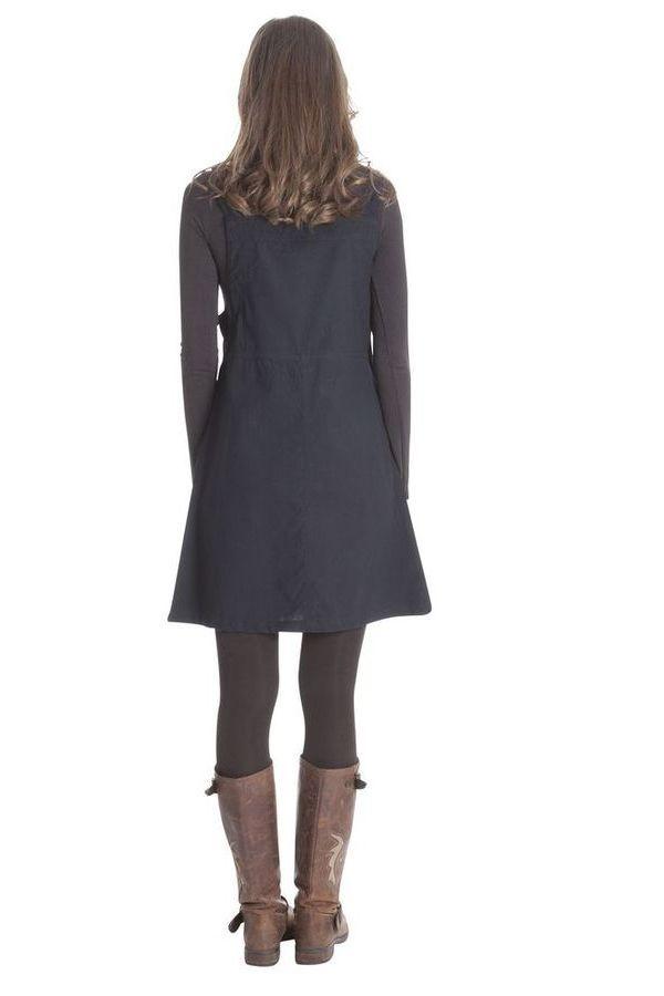 Robe courte d'Inde style salopette Originale Lison Noire 285692