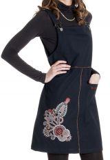 Robe courte d'Inde style salopette Originale Lison Noire 286816