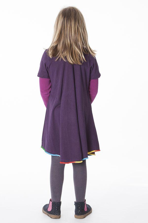 Robe courte de couleur prune pour fille 287185