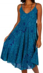 Robe courte de plage ample de couleur bleu agréable et fluide Mandy