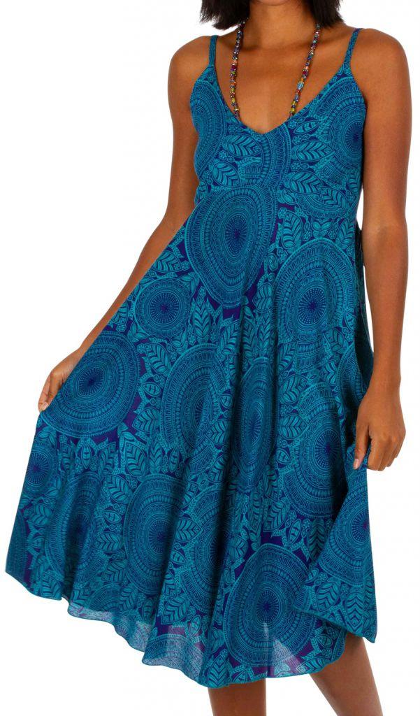 Robe courte de plage ample de couleur bleu agréable et fluide Mandy 306004