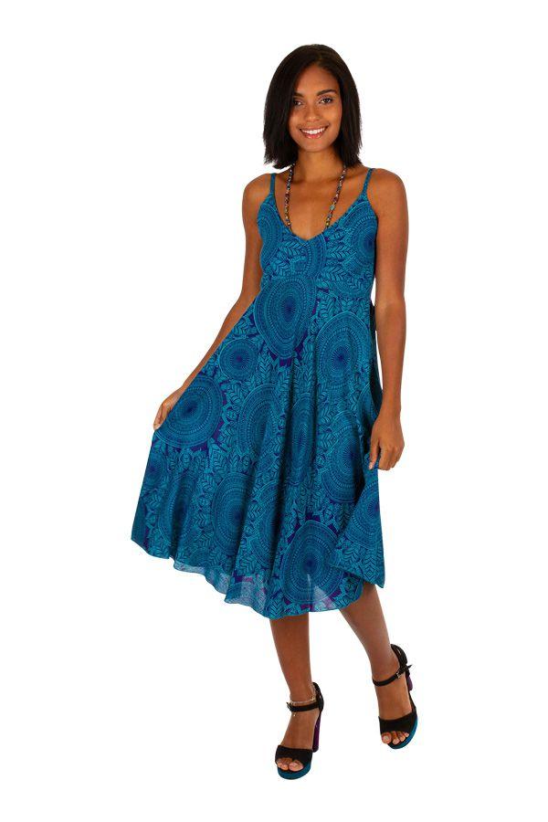 Robe courte de plage ample de couleur bleu agréable et fluide Mandy 306005