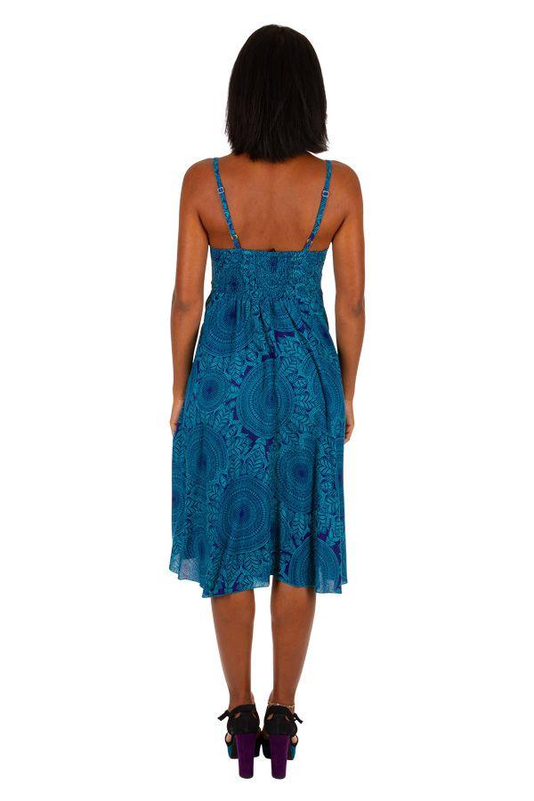 Robe courte de plage ample de couleur bleu agréable et fluide Mandy 306006