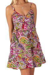Robe courte de Plage Originale et Colorée Grazia Baltiks Roses 284117