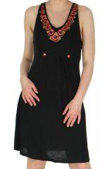 Robe courte Décolletée Originale et Ethnique Mohana Noire 283288