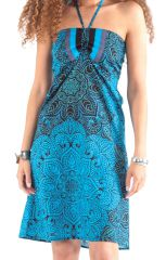 Robe courte dos nu Ethnique et Colorée Oriane Bleue 281303