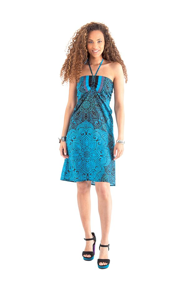 Robe courte dos nu Ethnique et Colorée Oriane Bleue 281304
