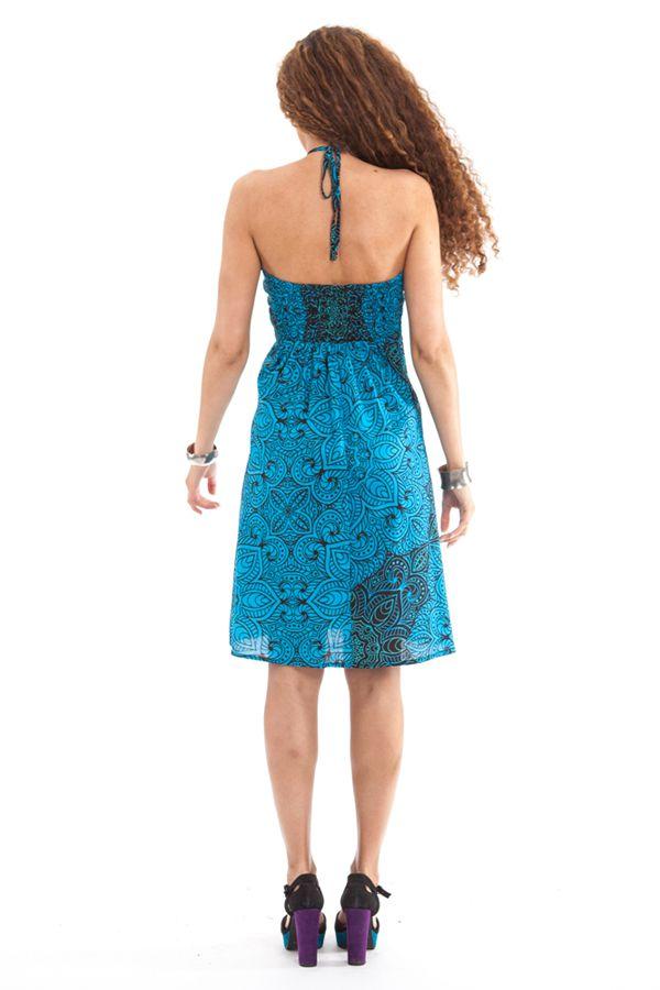 Robe courte dos nu Ethnique et Colorée Oriane Bleue 281305