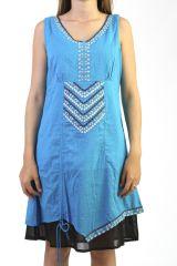 Robe courte doublée Brodée et Ethnique Bleue et Noire Nilman 291243