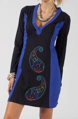Robe courte droite femme ethnique et brodée Kilou bleue 315048