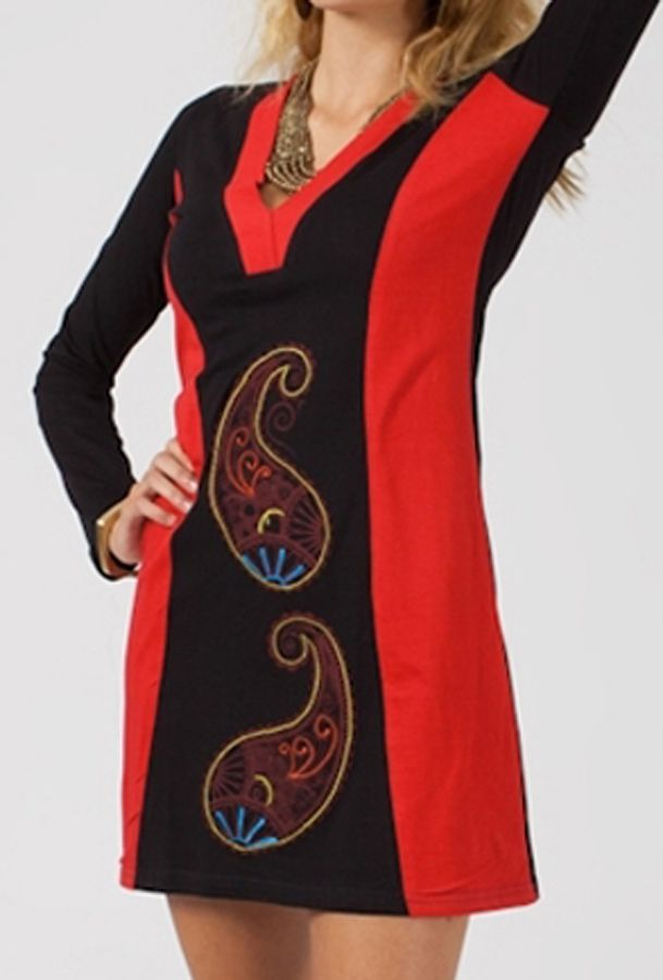 Robe Courte D Hiver Droite Femme Originale Et Brodee Kilou Rouge