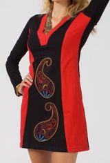 Robe courte droite femme originale et brodée Kilou rouge 315044