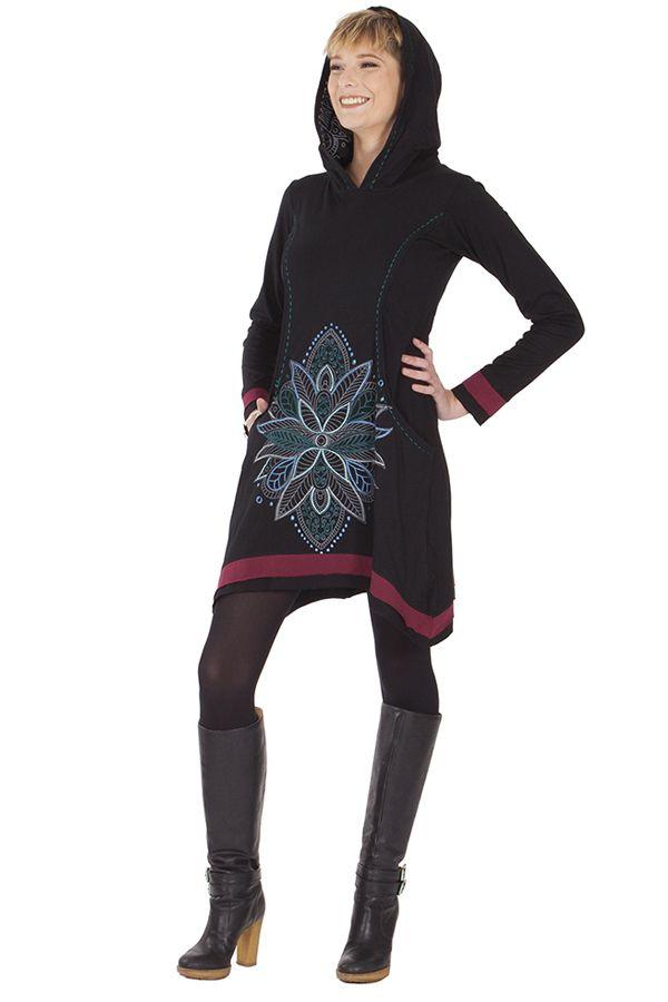 Robe courte du Népal à capuche Ethnique et Asymétrique Trista Noire 285338