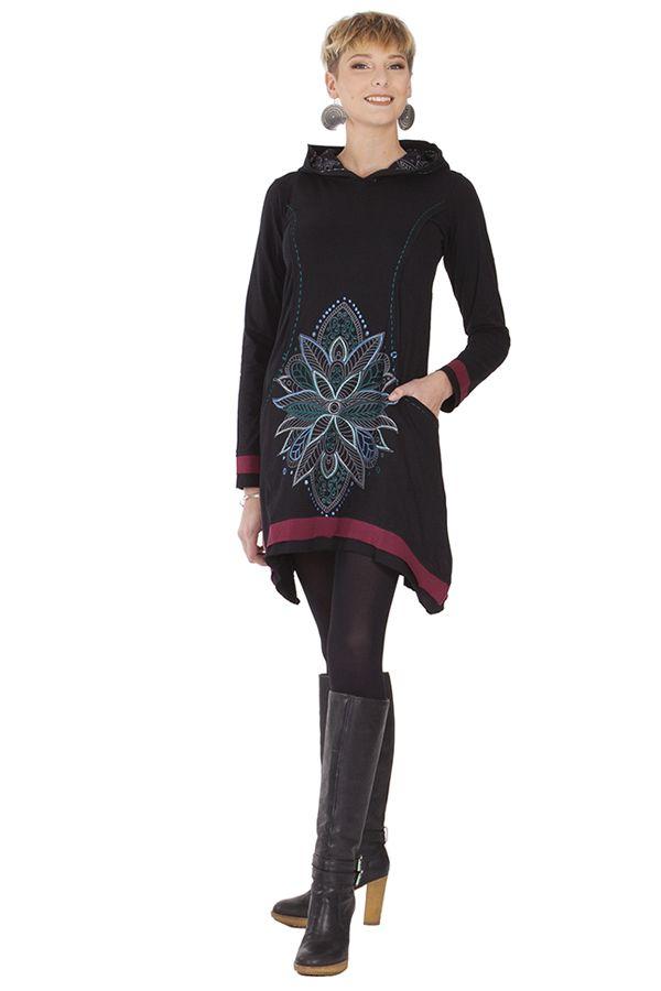Robe courte du Népal à capuche Ethnique et Asymétrique Trista Noire 285339
