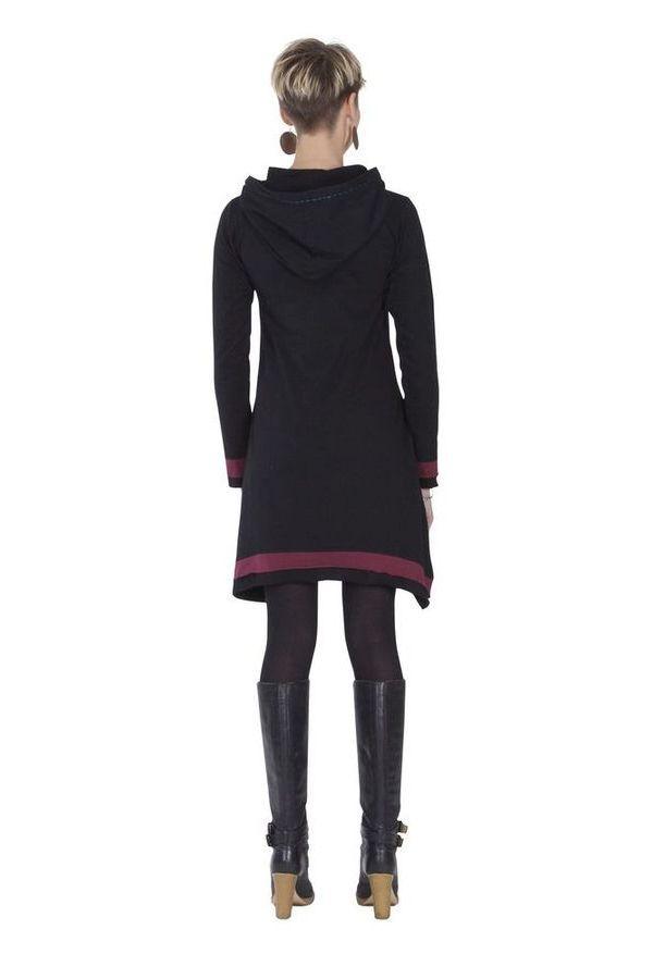 Robe courte du Népal à capuche Ethnique et Asymétrique Trista Noire 285340