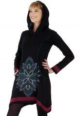 Robe courte du Népal à capuche Ethnique et Asymétrique Trista Noire 286828