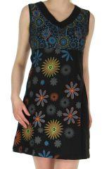 Robe courte du Népal Imprimée et Brodée Clarisse Noire 282882
