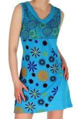 Robe courte du Népal Imprimée et Brodée Clarisse Turquoise 282888