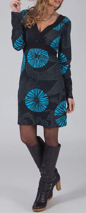 Robe courte effet cache-coeur Ethnique et Glamour Lisandra Grise 274993