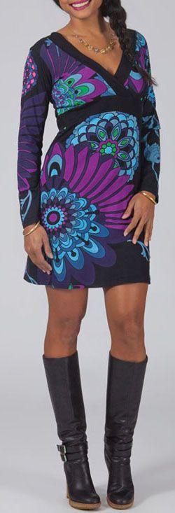 Robe courte effet cache-coeur Ethnique et Glamour Lisandra Violette 274991