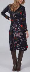 Robe courte effet cache-coeur Ethnique et Glamour Loraline Noire 275001