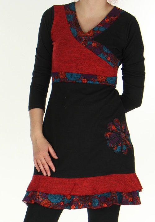 Robe courte Effet cache-coeur Ethnique et Originale Urielle Noire 276431