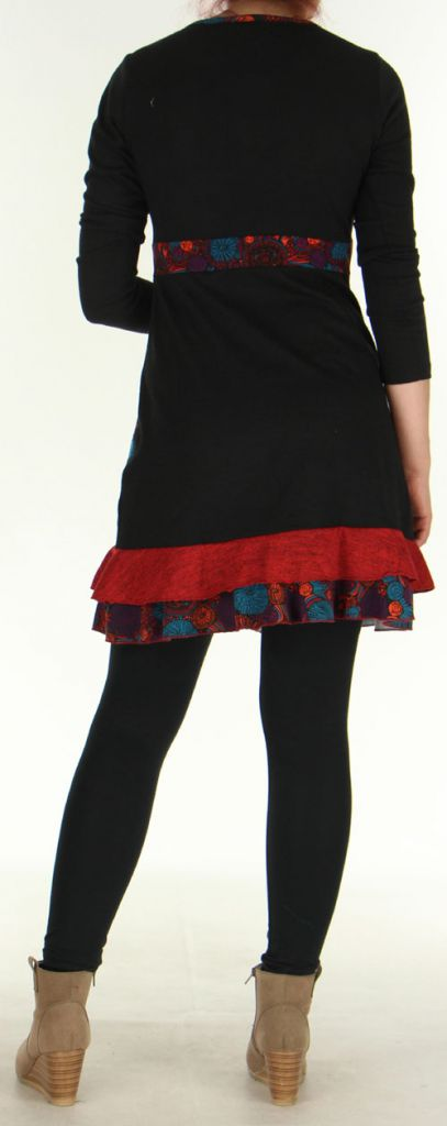 Robe courte Effet cache-coeur Ethnique et Originale Urielle Noire 276433