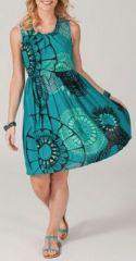 Robe courte élastiquée à la taille turquoise Kissima 269652