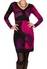Robe courte élégante à manches longues avec imprimés fantaisies Fuchsia Meryl 298946