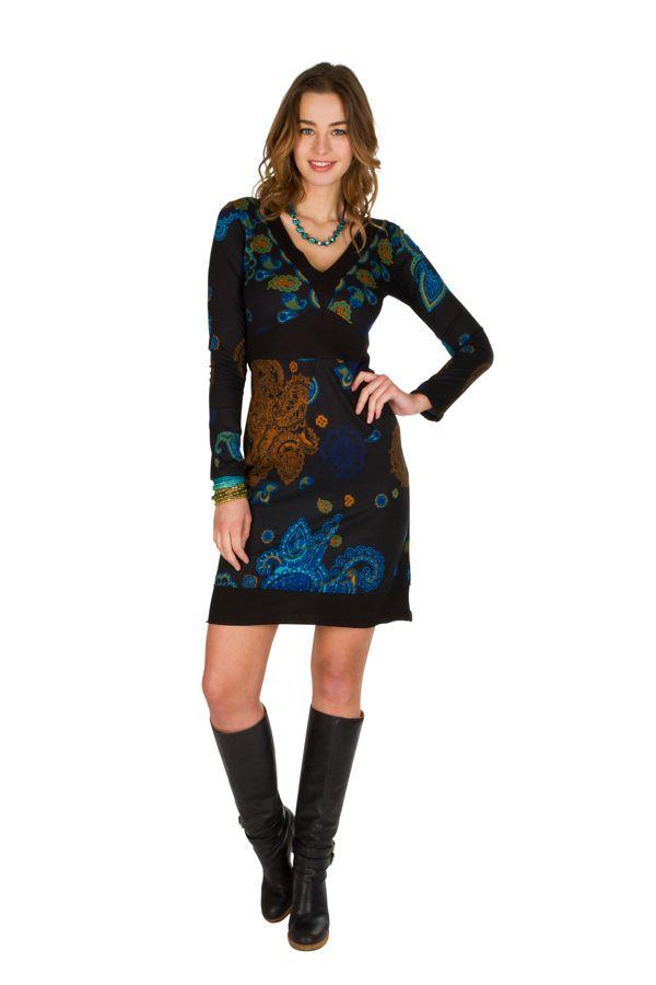 Robe courte élégante à manches longues avec imprimés fantaisies Noire Meryl 298967