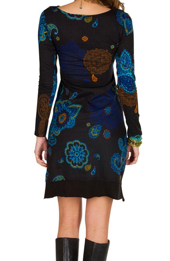 Robe courte élégante à manches longues avec imprimés fantaisies Noire Meryl 298968