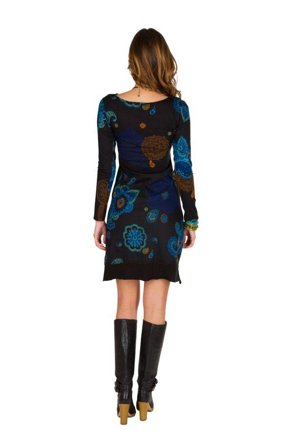 Robe courte élégante à manches longues avec imprimés fantaisies Noire Meryl 298969