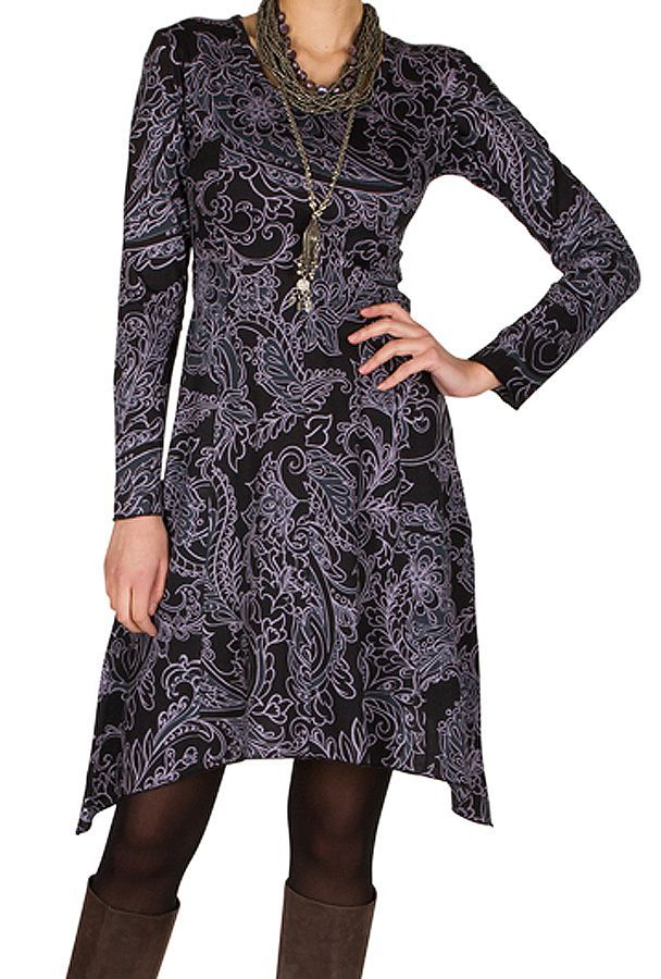Robe courte élégante asymétrique avec imprimés Noire Tristina 301150