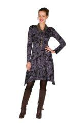 Robe courte élégante asymétrique avec imprimés Noire Tristina 301151