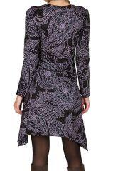 Robe courte élégante asymétrique avec imprimés Noire Tristina 301152
