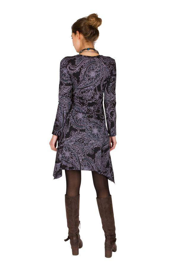 Robe courte élégante asymétrique avec imprimés Noire Tristina 301158