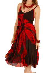 Robe courte élégante avec un motif fleuri noire et rouge Celine 306001