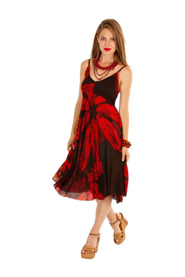 Robe courte élégante avec un motif fleuri noire et rouge Celine 306002