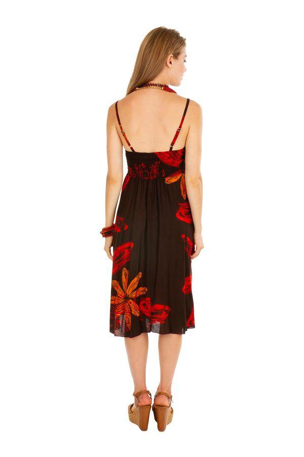 Robe courte élégante avec un motif fleuri noire et rouge Celine 306003