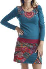 Robe courte en coton glamour avec imprimés originaux Verte Aida 302522