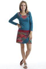 Robe courte en coton glamour avec imprimés originaux Verte Aida 302523