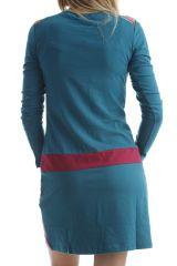 Robe courte en coton glamour avec imprimés originaux Verte Aida 302525