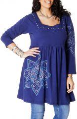Robe courte en grande taille Ethnique et Chic Nyasia Bleue 286978
