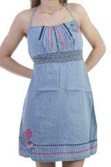 Robe courte en jean avec imprimés colorés et bretelles Clémentine 296759