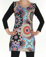 Robe courte en Maille Ethnique et Colorée Thélya Noire 276389