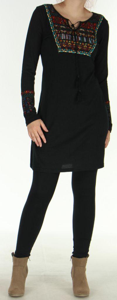 Robe courte en Maille Ethnique et Originale Vitalie Noire 276463