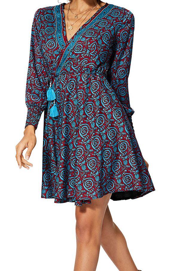 Robe courte en portefeuille femme ethnique chic Addison