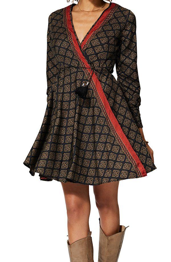 Robe courte en portefeuille femme ethnique tendance Lilou