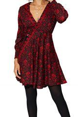 Robe courte en portefeuille femme rouge chic Brooklyn